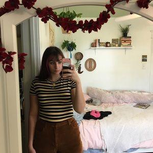 Zara Black and Yellow Striped Tee